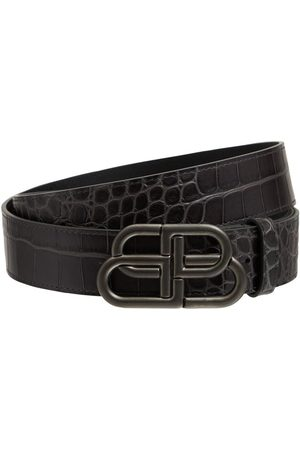 Balenciaga 3.8cm Bb Croc Embossed Leather Belt
