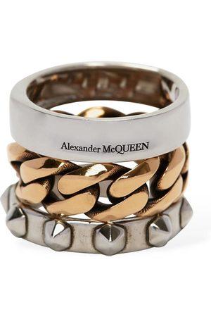 Alexander McQueen Women Rings - Punk Triple Ring