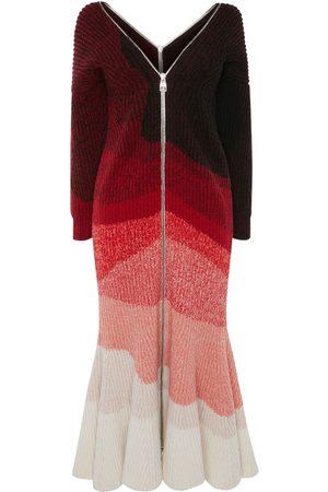 Alexander McQueen Women Midi Dresses - Wool Rib Multicolor Midi Dress
