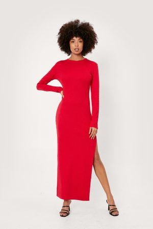 NASTY GAL Womens Ribbed Long Sleeved Bodycon Maxi Dress