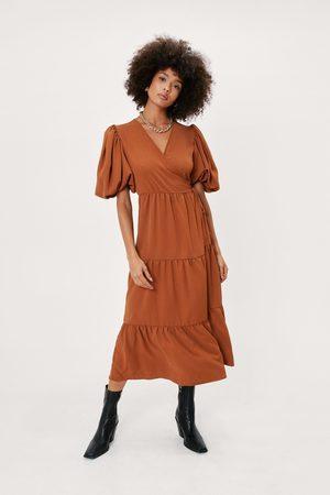 NASTY GAL Women Dresses - Womens Plain Woven Puff Sleeve Midaxi Wrap Dress