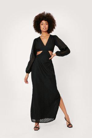 NASTY GAL Women Maxi Dresses - Womens Polka Dot Jacquard Cut Out Maxi Dress