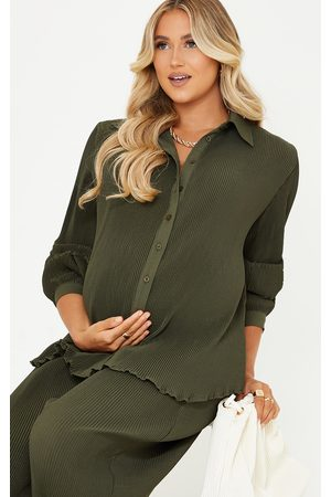 PRETTYLITTLETHING Women Casual - Maternity Olive Plisse Oversized Cuff Detail Shirt