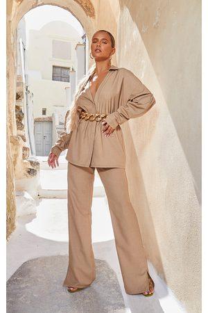 PRETTYLITTLETHING Women Wide Leg Trousers - Camel Elasticated Waist Wide Leg Trousers