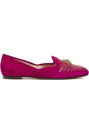 Aquazzura Women Loafers - Woman Sunlight Embellished Suede Loafers Fuchsia Size 34