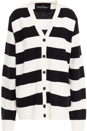 The Marc Jacobs Women Cardigans - Woman Distressed Striped Wool Cardigan Ivory Size L