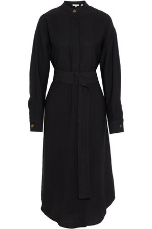 Vince Woman Belted Slub Broadcloth Midi Shirt Dress Size S