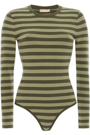 Michael Kors Woman Striped Jersey Bodysuit Sage Size L