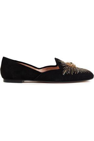 Aquazzura Women Loafers - Woman Sunlight Embellished Suede Loafers Size 34
