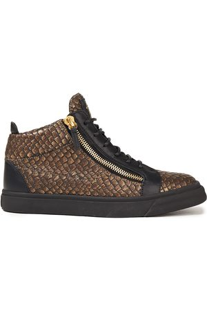 Giuseppe Zanotti Woman Metallic Snake-effect Leather High-top Sneakers Bronze Size 35