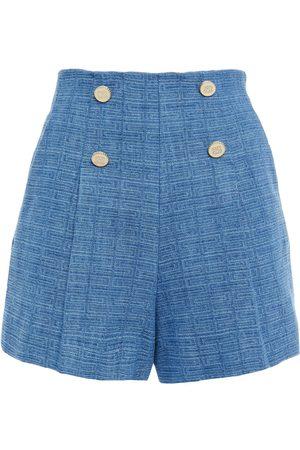 Sandro Women Shorts - Woman Button-embellished Cotton-tweed Shorts Size 36
