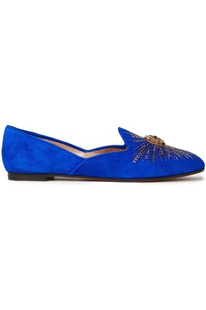 Aquazzura Women Loafers - Woman Sunlight Embellished Suede Loafers Bright Size 34