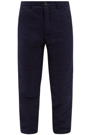 Comme des Garçons Padded Wool-flannel Trousers - Mens - Navy