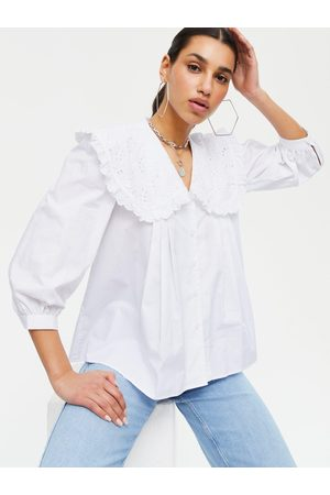 New Look Broderie Collar Puff Sleeve Blouse