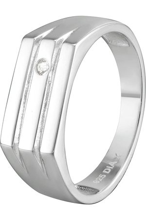The Love Silver Collection Gent'S Sterling And Diamond Signet Style Ring