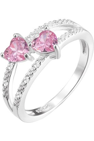 The Love Silver Collection Sterling & Pink Heart Cubic Zirconia Double Row Ring