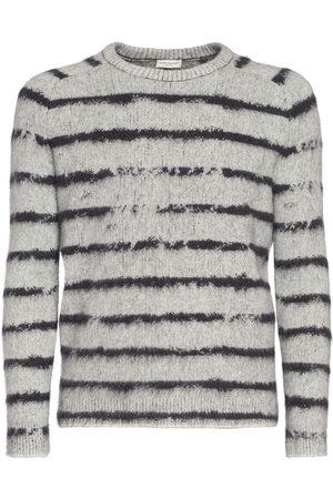 Saint Laurent Striped Wool Blend Knit Sweater
