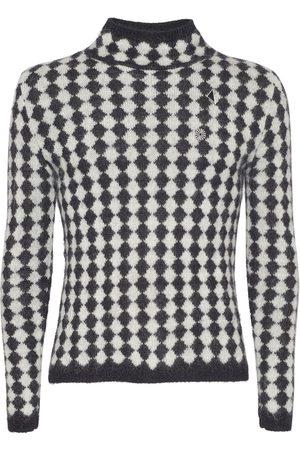 Saint Laurent Diamond Motif Wool Blend Knit Sweater