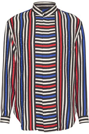 Saint Laurent Striped Loose Silk Shirt