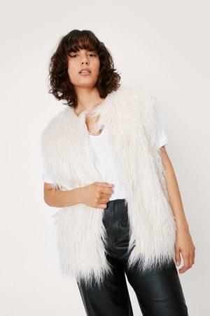 NASTY GAL Women Body Warmers - Womens Shaggy Faux Fur Sleeveless Gilet