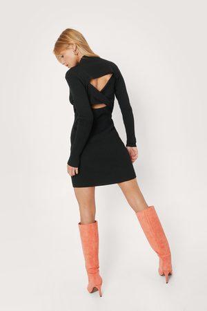 NASTY GAL Women Bodycon Dresses - Womens Petite Twist Back Cut Out Mini Dress