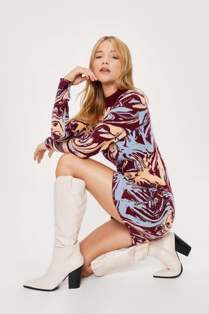 NASTY GAL Women Knitted Dresses - Womens Petite Marble Print Knitted Mini Dress