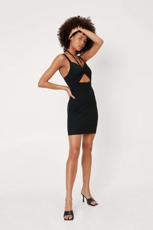 NASTY GAL Women Bodycon Dresses - Womens Ripple Rib Knot Front Halterneck Mini Dress