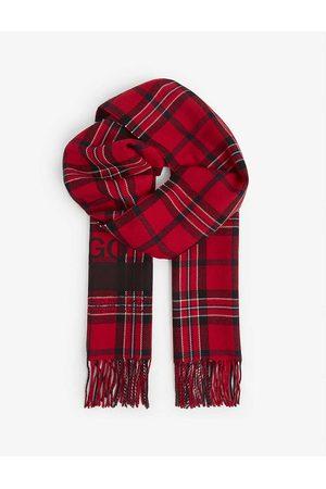 HUGO Men Scarves - Tartan-pattern tasselled wool-blend scarf