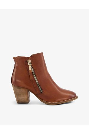 Dune Women Ankle Boots - Paice mid-heel zip-up leather ankle boots