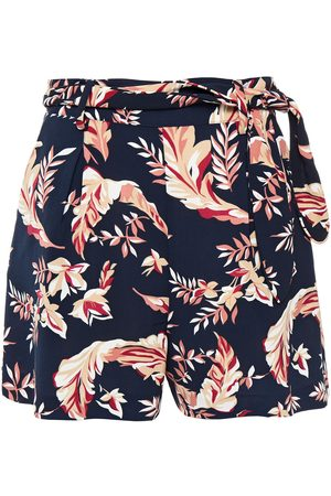 Joie Women Shorts - Woman Varsha Belted Printed Crepe Shorts Navy Size 0