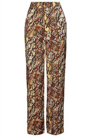 Gestuz Women Wide Leg Trousers - Woman Snake-print Satin-jacquard Wide-leg Pants Pastel Size 34