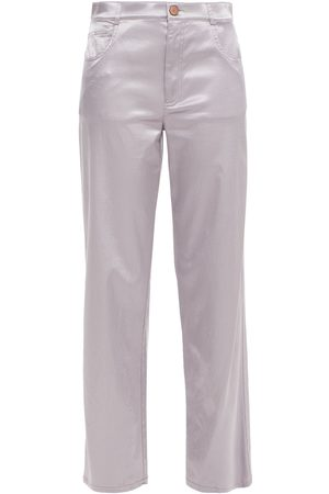 See by Chloé Women Trousers - See By Chloé Woman Cotton-blend Satin Straight-leg Pants Lilac Size 34