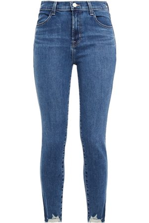 J Brand Women Skinny - Woman Distressed Faded Mid-rise Skinny Jeans Navy Size 23