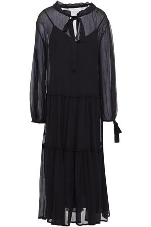 SEE BY CHLOÉ See By Chloé Woman Tiered Gathered Cotton And Silk-blend Crepon Midi Dress Size 36