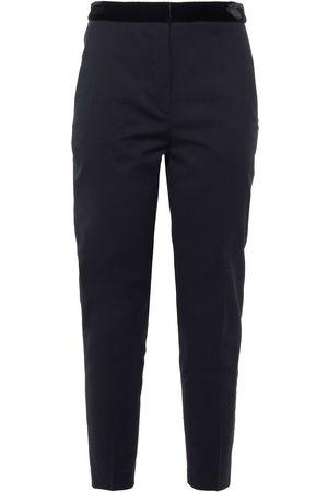 Sandro Woman Jezal Cropped Velvet-trimmed Twill Slim-leg Pants Navy Size 34