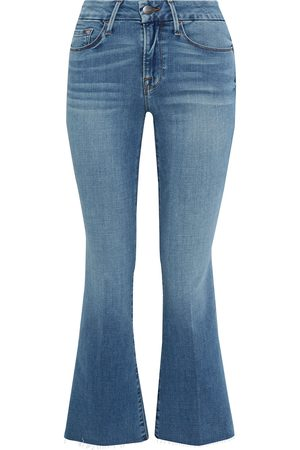 Frame Woman Le Crop Mini Boot Frayed Mid-rise Kick-flare Jeans Mid Denim Size 25