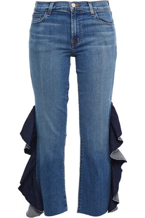 J BRAND Women Bootcut - Woman Cropped Ruffled Mid-rise Bootcut Jeans Mid Denim Size 23