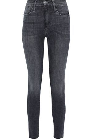 Frame Woman Le High Skinny Cropped Frayed Mid-rise Skinny Jeans Charcoal Size 24