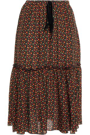 A.P.C. Women Printed Skirts - Woman Ruffle-trimmed Printed Silk Crepe De Chine Skirt Size 34