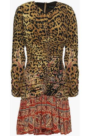 Etro Women Printed Dresses - Woman Ruched Printed Silk Crepe De Chine Mini Dress Animal Print Size 40