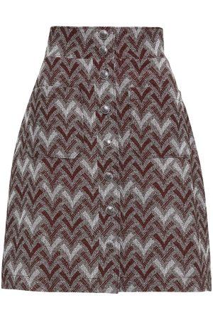 Acne Studios Women Mini Skirts - Woman Isodora Jacquard Mini Skirt Burgundy Size 32
