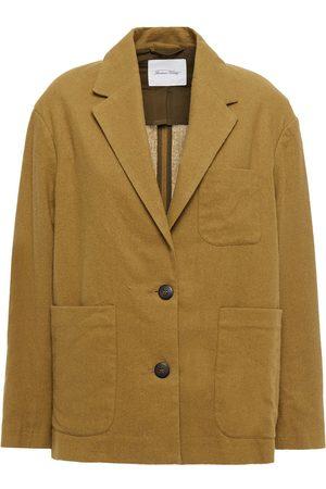 American Vintage Women Blazers - Woman Renatown Cotton-blend Flannel Blazer Sage Size L