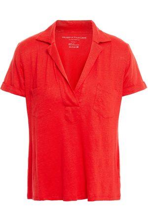 Majestic Women Polo Shirts - Woman Slub Linen-blend Jersey Polo Shirt Papaya Size 1