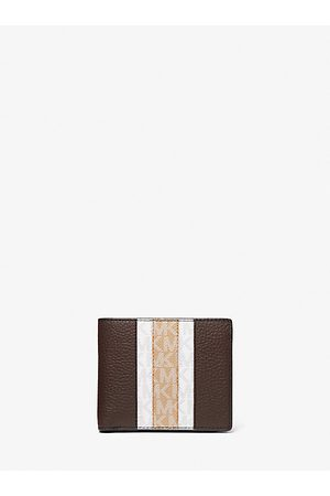 Michael Kors Purses & Wallets - MK Hudson Pebbled Leather Logo Stripe Billfold Wallet With Coin Pouch - - Michael Kors