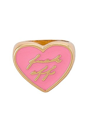 8 Other Reasons Women Rings - Gold Heart Ring With Resin Fuck Off in . Size 6, 7, 8.