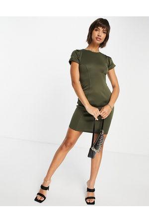 Closet Contour seam pencil dress in olive
