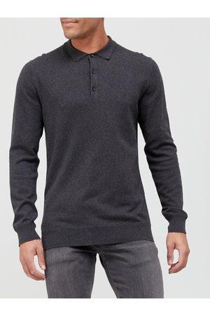Very Man Cotton Rich Long Sleeve Polo Shirt - Charcoal Grey