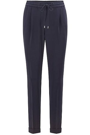 HUGO BOSS Regular-fit trousers in Japanese crepe with drawcord waist