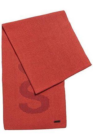 HUGO BOSS Cotton-blend scarf with logo structure