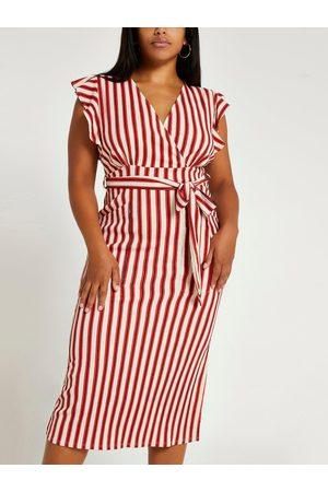 RI Plus Stripe Tie Waist Midi Dress
